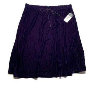 Lauren Ralph Lauren skirt purple velvet midi small